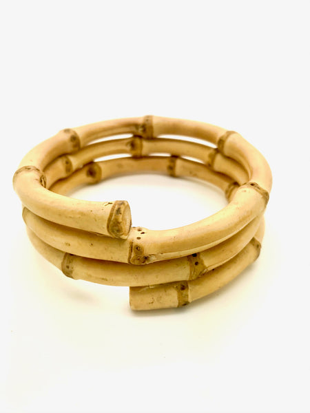 Rock n Romance 1950s Tiki Retro Rockabilly Triple Twist Natural Bamboo Bangle - RocknRomance Clothing