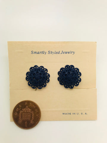 Authentic Vintage 1940s-50s Screw Back Dome Earrings in Navy Blue Floral Lace Acrylic Resin