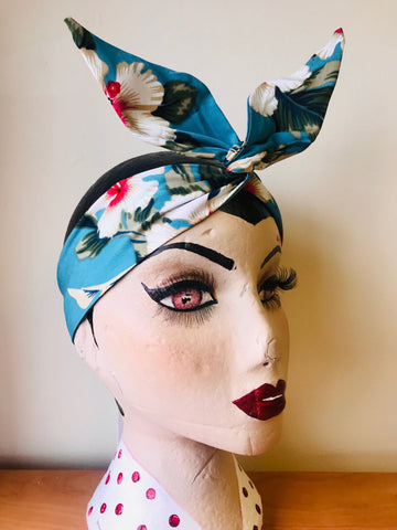 Wired Headband (No Tying Fiddly Knots or Bows) 1950s Rockabilly / 1940s Landgirl Style .. In Our Teal Hawaiian Print - RocknRomance True 1940s & 1950s Vintage Style