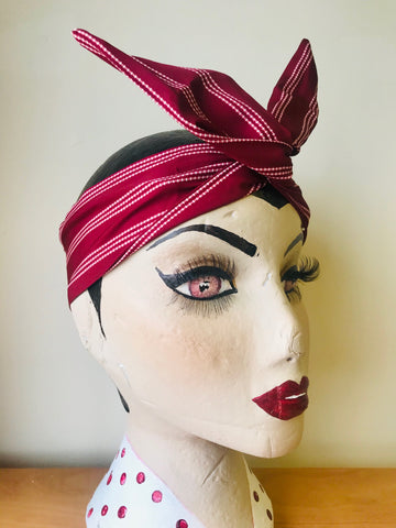 Twist & Go .. Wired Headband (No Tying Fiddly Knots or Bows) 1950s Rockabilly / 1940s Landgirl Style .. In Our Maroon Dotty Stripe Print - RocknRomance True 1940s & 1950s Vintage Style