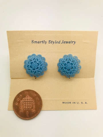 Rock n Romance Authentic Vintage 1940s-50s Screw Back Dome Earrings in Blue Floral Lace Acrylic Resin by The Schein Brothers - RocknRomance Clothing