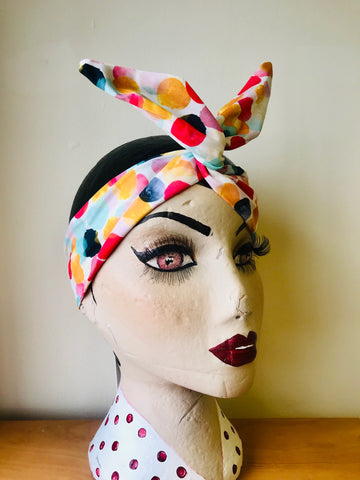 Twist & Go .. Wired Headband (No Tying Fiddly Knots or Bows) 1950s Rockabilly / 1940s Landgirl Style .. In Our Bubblegum Print - RocknRomance True 1940s & 1950s Vintage Style