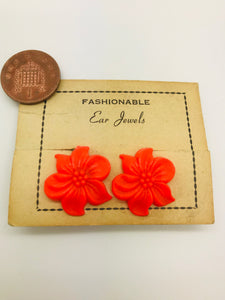 Authentic Vintage 1940s-50s Clip On Orange Flower Acrylic Resin Earrings by The Schein Brothers