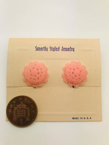 Authentic Vintage 1940s-50s Screw Back Dome Earrings in Pink Floral Lace Acrylic Resin