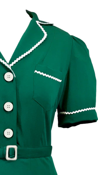"NEW ""Kitty"" Shirtwaister Dress in Green with Contrast Ric-Rac, Authentic Early True Vintage 1950s Style AW19"