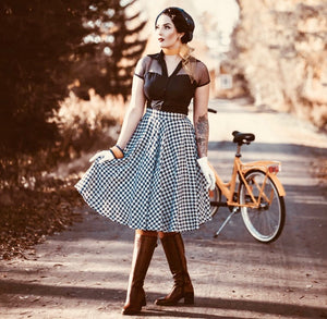 """Swing Skirt"" in Navy Blue Hounds/Dog Tooth, Authentic 1950s Vintage RocknRoll Style"