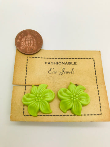 Authentic Vintage 1940s-50s Clip On Green Flower Acrylic Resin Earrings by The Schein Brothers