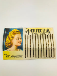 Authentic Vintage 1940s-50s Set Of 12 Bobby Pins Hairclips on Original Backing Display Card - RocknRomance True 1940s & 1950s Vintage Style