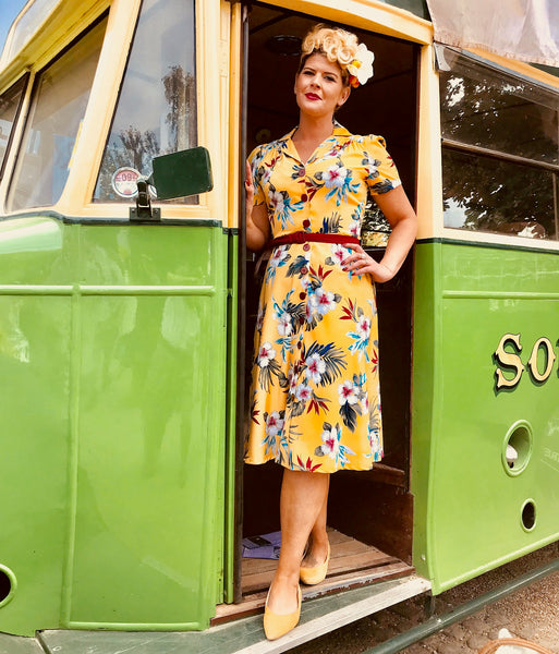 "The ""Charlene"" Shirtwaister Dress in Mustard Hawaiian Print, True & Authentic 1950s Vintage Style - RocknRomance True 1940s & 1950s Vintage Style"