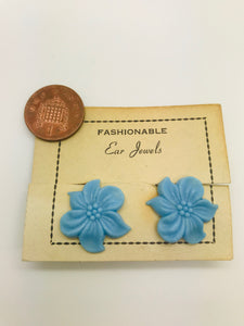 Authentic Vintage 1940s-50s Clip On Blue Flower Acrylic Resin Earrings by The Schein Brothers