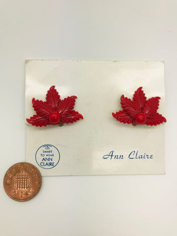 Authentic Vintage 1940s-50s Clip On Red Fern Acrylic Resin Earrings by Ann Claire The Schein Brothers