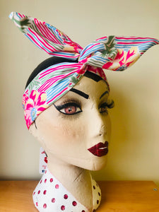 Twist & Go .. Wired Headband (No Tying Fiddly Knots or Bows) 1950s Rockabilly / 1940s Landgirl Style .. In Our Pacific Garden Print - RocknRomance True 1940s & 1950s Vintage Style