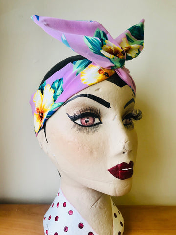 Twist & Go .. Wired Headband (No Tying Fiddly Knots or Bows) 1950s Rockabilly / 1940s Landgirl Style .. In Our Pink Hawaiian Print - RocknRomance True 1940s & 1950s Vintage Style