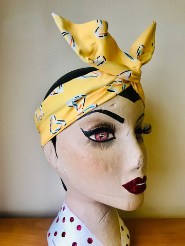 Rock n Romance Wired Hairband (No Tying Fiddly Knots or Bows) 1950s Rockabilly / 1940s Landgirl Style .. In Our Abstract Yellow Heart Print - RocknRomance Clothing