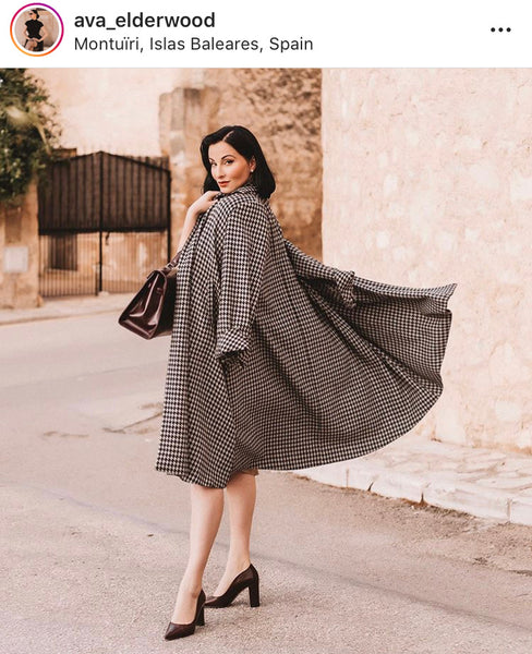 The Seamstress Of Bloomsbury Swing Coat in Houndstooth, Vintage 1940s Cape Style Inspired Over Coat - RocknRomance Clothing