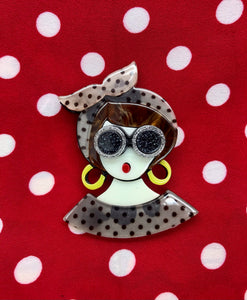 The Seamstress Of Bloomsbury Kitsch Vintage Lady Acrylic Pin Brooch, Fun Rockabilly Style & Oh So Kitsch - RocknRomance Clothing