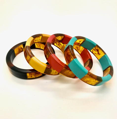 1950s Retro Rockabilly Acrylic Stripey Bangle - RocknRomance True 1940s & 1950s Vintage Style