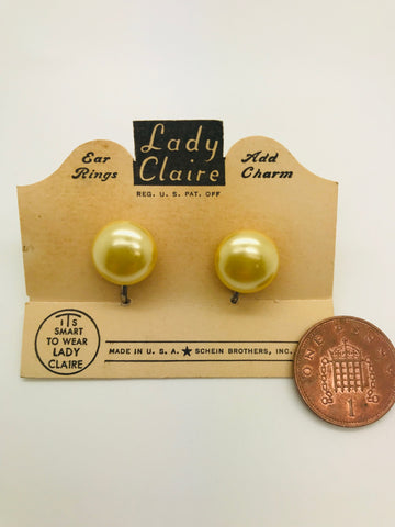 Authentic Vintage 1940s-50s Screw Back Dome Earrings in Pearlised Acrylic Resin by Lady Claire Schein Brothers