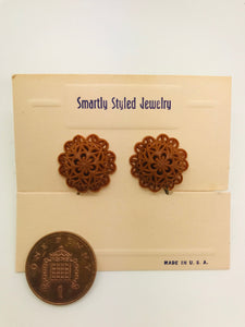 Authentic Vintage 1940s-50s Screw Back Dome Earrings in Brown Floral Lace Acrylic Resin