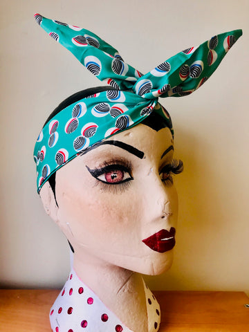 Twist & Go .. Wired Headband (No Tying Fiddly Knots or Bows) 1950s Rockabilly / 1940s Landgirl Style .. In Our Green Polka Print - RocknRomance True 1940s & 1950s Vintage Style