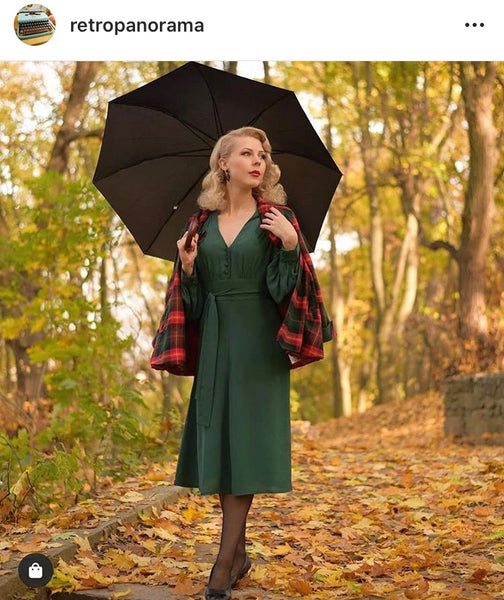 "The Seamstress Of Bloomsbury ""Ava"" Dress in Vintage Green, Classic 1940's Style Long Sleeve Dress - RocknRomance Clothing"