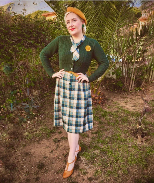 "The ""Casidy"" Pussy Bow Dress in Green Check Print, Perfect 1950s Style - RocknRomance True 1940s & 1950s Vintage Style"