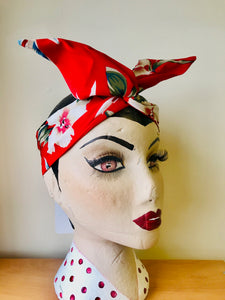 Twist & Go .. Wired Headband (No Tying Fiddly Knots or Bows) 1950s Rockabilly / 1940s Landgirl Style .. In Our Red Hawaiian Print - RocknRomance True 1940s & 1950s Vintage Style
