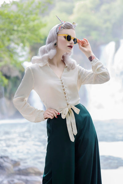 "The Seamstress Of Bloomsbury ""Clarice"" Long Sleeve Blouse in Cream, Classic 1940s Vintage Inspired Style - RocknRomance Clothing"