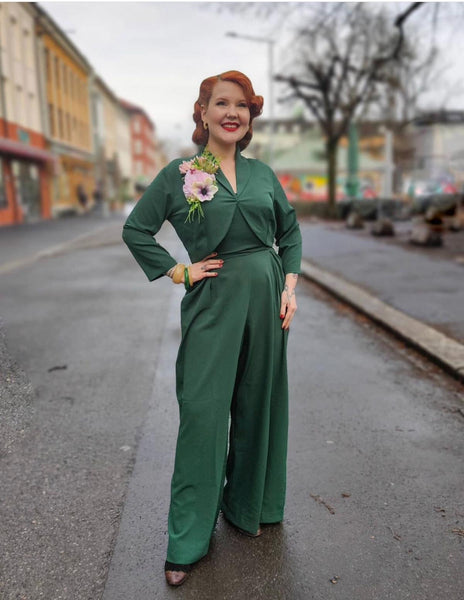 "The ""Lana"" Plazzo Jump Suit & Bolero 2pc Set in Green, Easy To Wear Vintage Style - RocknRomance True 1940s & 1950s Vintage Style"