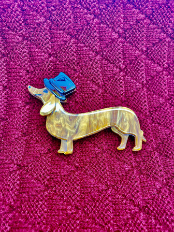 Kitsch Sausage Dog Acrylic Pin Brooch, Fun Rockabilly Style & Oh So Kitsch, - RocknRomance True 1940s & 1950s Vintage Style