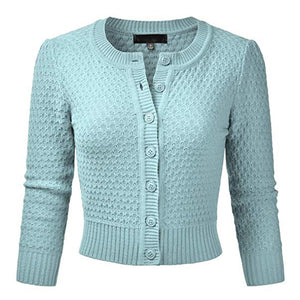 """Sandra"" Textured Knit Cardigan in Sky Blue, 1940s & 50s Vintage Style"