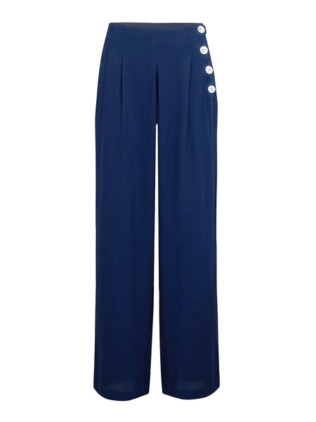 "The Seamstress Of Bloomsbury ""Audrey"" Trousers in Navy Blue, Classic 1940s Vintage Inspired Style - RocknRomance Clothing"