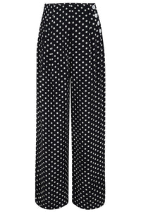 """Audrey"" Trousers in Black With White Polka , Totally Authentic & Classic 1940s Vintage Inspired Style - RocknRomance True 1940s & 1950s Vintage Style"
