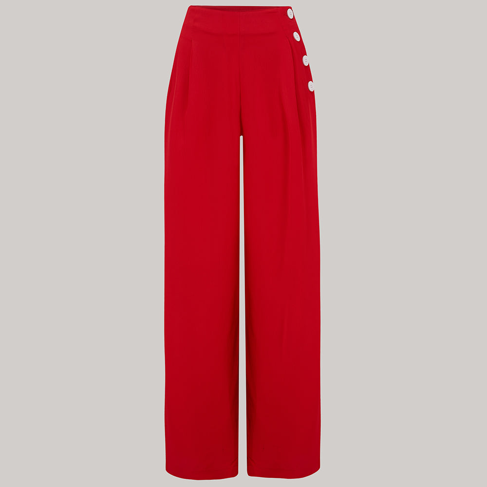 "The Seamstress Of Bloomsbury ""Audrey"" Trousers in 40's Red, Totally Authentic & Classic 1940s Vintage Inspired Style - RocknRomance Clothing"