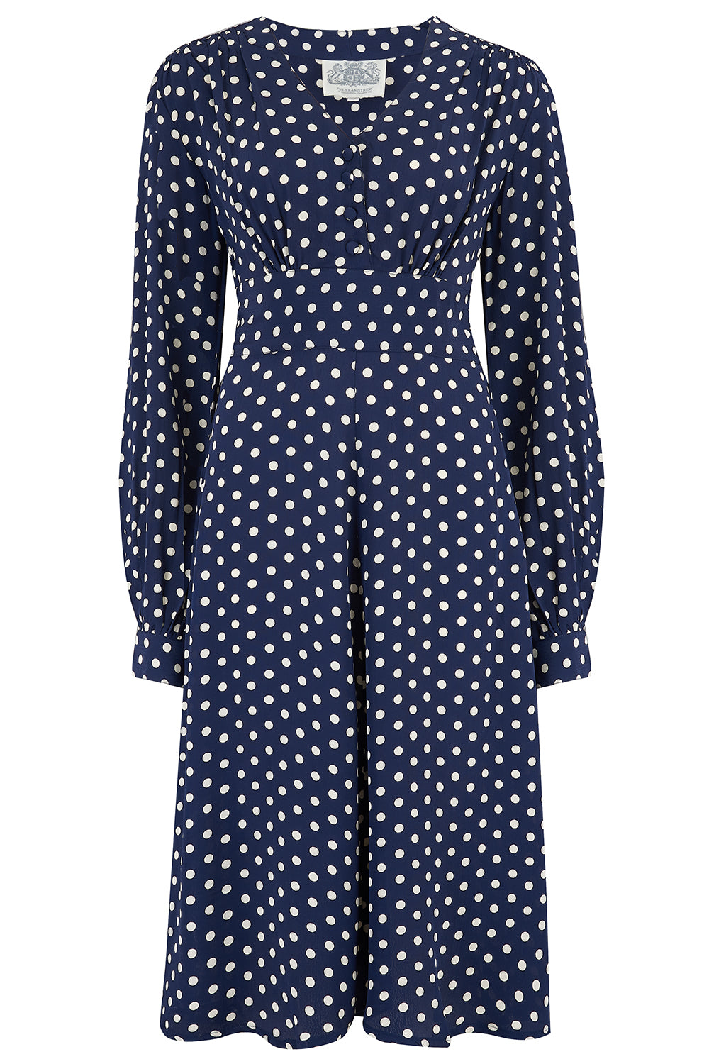 1940s Dress Styles Ava Dress in Navy Polka Dot Print Classic 1940s Style Long Sleeve Dress £89.00 AT vintagedancer.com