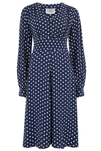 """Ava"" Dress in Navy Polka Dot Print, Classic 1940's Style Long Sleeve Dress"
