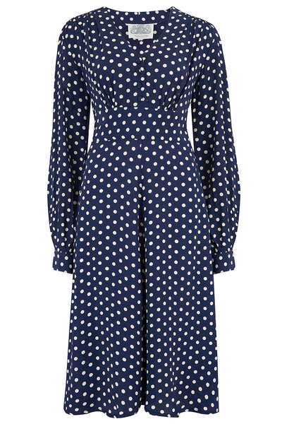 "The Seamstress Of Bloomsbury ""Ava"" Dress in Navy Polka Dot Print, Classic 1940's Style Long Sleeve Dress - RocknRomance Clothing"