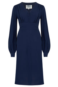 "The Seamstress Of Bloomsbury ""Ava"" Dress in Solid Navy, Classic 1940's Style Long Sleeve Dress - RocknRomance Clothing"