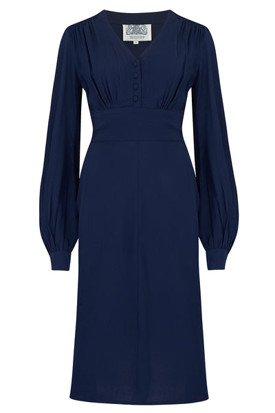 """Ava"" Dress in Solid Navy, Classic 1940's Style Long Sleeve Dress"