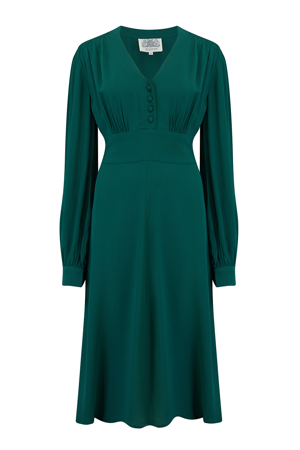 1940s Dress Styles Ava Dress in Vintage Green Classic 1940s Style Long Sleeve Dress £89.00 AT vintagedancer.com