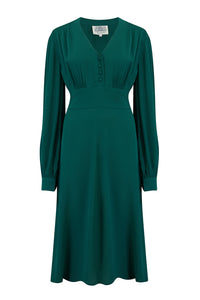 """Ava"" Dress in Vintage Green, Classic 1940's Style Long Sleeve Dress"