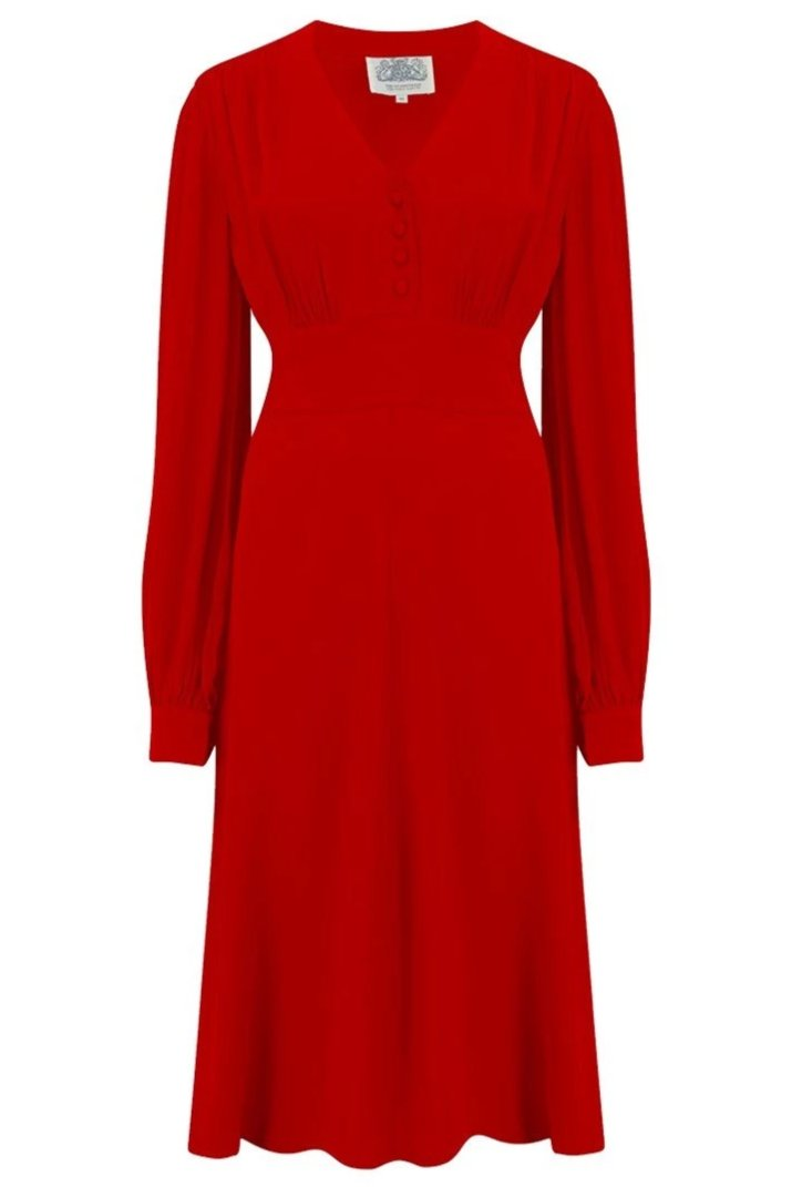 """Ava"" Dress in Solid 40's Red, Classic 1940's Style Long Sleeve Dress"