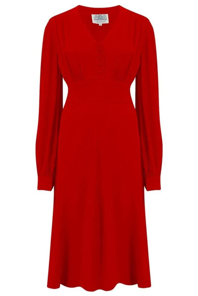 "The Seamstress Of Bloomsbury ""Ava"" Dress in Solid 40's Red, Classic 1940's Style Long Sleeve Dress - RocknRomance Clothing"
