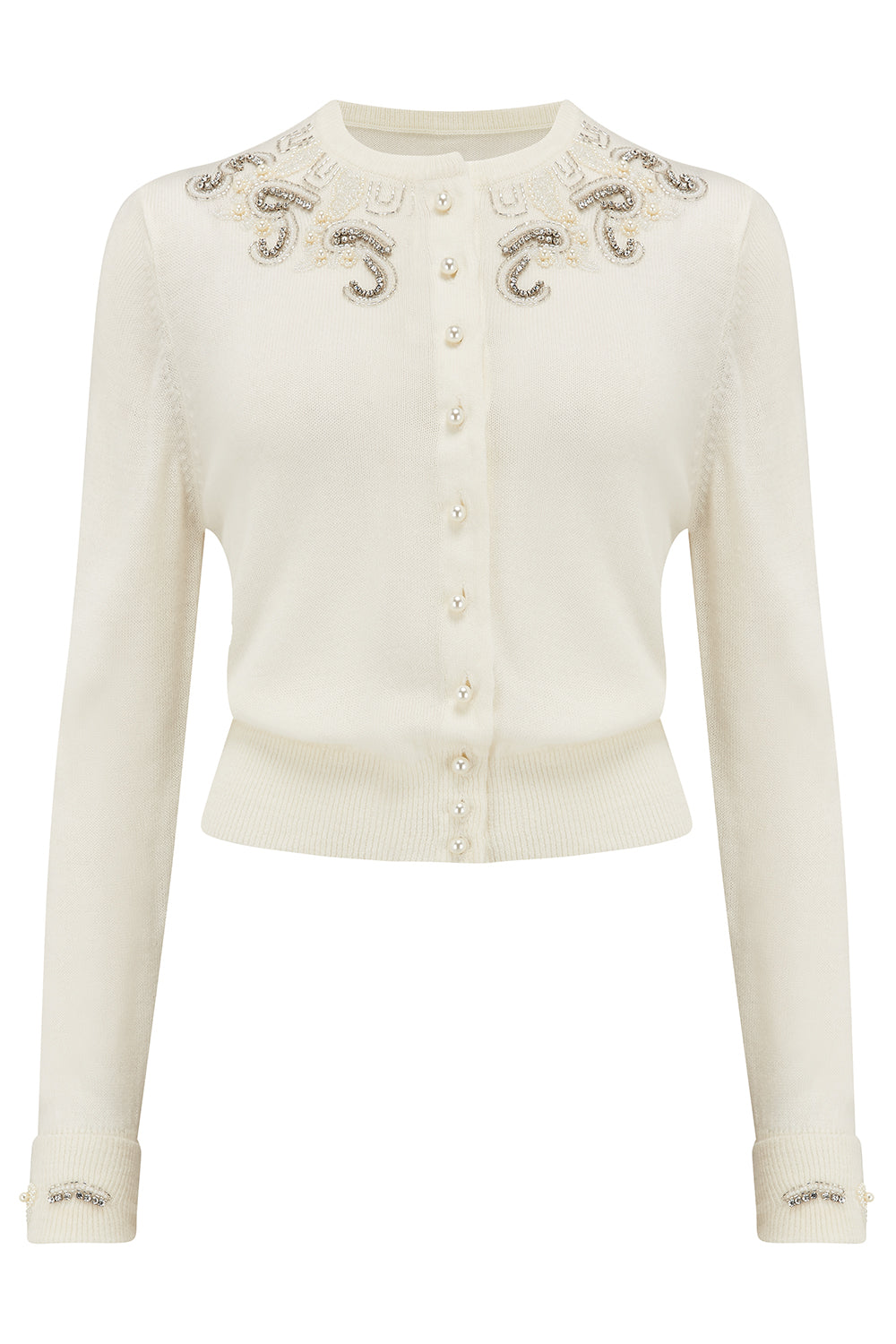 1940s Teenage Fashion: Girls The Beaded Cardigan in Cream Stunning 1940s Vintage Style £69.00 AT vintagedancer.com