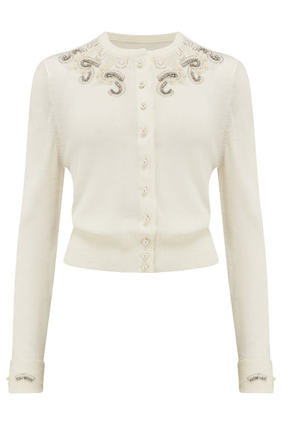 The Beaded Cardigan in Cream, Stunning 1940s Vintage Style - RocknRomance True 1940s & 1950s Vintage Style