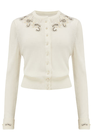 The Seamstress Of Bloomsbury The Beaded Cardigan in Cream, Stunning 1940s Vintage Style - RocknRomance Clothing