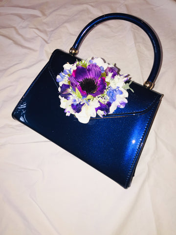 Classic Bags In Bloom Vintage Inspired Betty Hand Bag In French Blue - RocknRomance Clothing