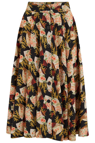 "The ""Beverly"" Button Front Full Circle Skirt with Pockets in Japanese Fan Print, True 1950s Vintage Style - RocknRomance True 1940s & 1950s Vintage Style"