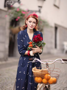 The Seamstress of Bloomsbury Milly dress in Navy Doggy Print , A Classic 1940s Inspired Day dress, True Vintage Style - RocknRomance Clothing