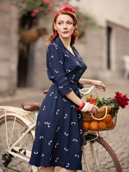 Milly dress in Navy Doggy Print , A Classic 1940s Inspired Day dress, True Vintage Style - RocknRomance True 1940s & 1950s Vintage Style